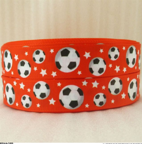 1 METRE OF RED FOOTBALL RIBBON 7/8 BOWS HEADBANDS BABY HAIR CLIPS BIRTHDAY CAKE CARD MAKING